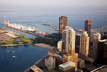 USA, Illinois, Chicago, Cityscape, Olive Park, Navy Pier and downtown buildings