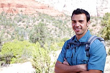 USA, Arizona, Sedona, Young smiling hiker