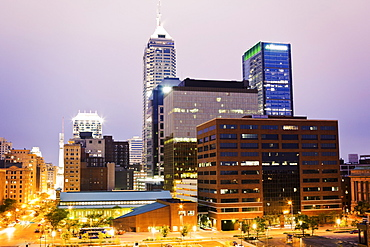 USA, Indiana, Indianapolis, Downtown at sunset
