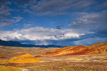 USA, Oregon, Mitchell, Painted Hills with storm clouds