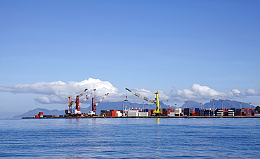 Skyline of container terminal seen from sea, French Polynesia, Tahiti