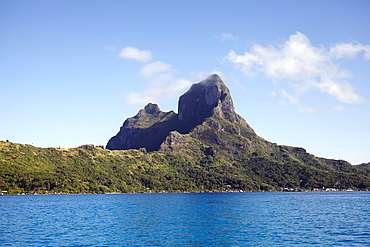 Landscape with rocky mountains and calm sea, French Polynesia, Bora Bora