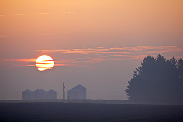 USA, Illinois, Springfield, Farm at sunrise