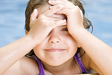 Spain, Costa Blanca, Girl (6-7) in swimming pool