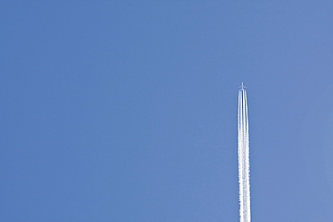 Spain, Costa Blanca, Airplane on clear sky
