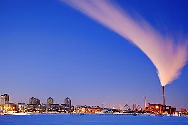 Finland, Helsinki, Smoking chimney in dock