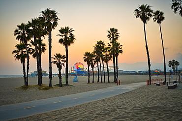 Santa Monica Pier at sunset, California, USA