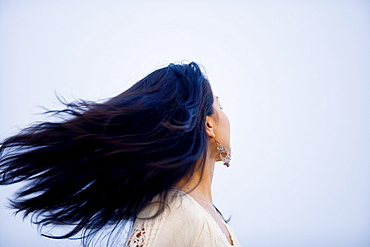 Windswept young woman
