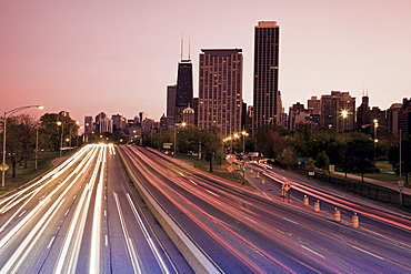 USA, Illinois, Chicago, highway at dusk