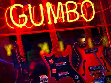 Illuminated Gumbo sign on Beale Street in Memphis