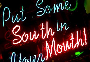Illuminated sign on Beale Street in Memphis