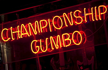 Illuminated Championship Gumbo sign on Beale Street