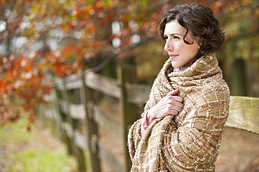 Woman wearing shall