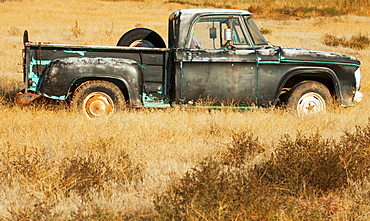 Vintage pickup truck in field