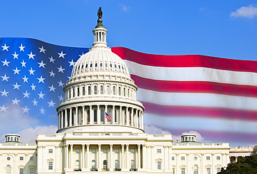 Capitol building and American flag
