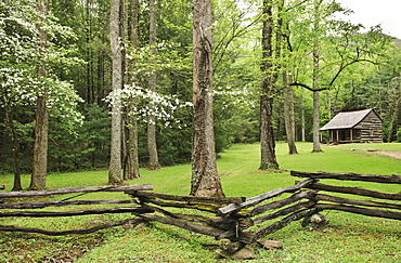 A fence and building in Smoky Mountain National Park