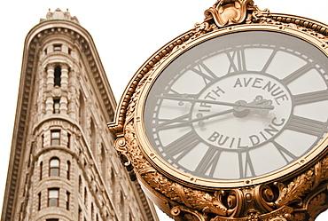 Flatiron Building and clock, Manhattan, New York City, New York, USA