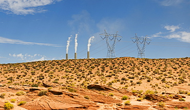 Power plant in distance on Navajo reservation in Arizona