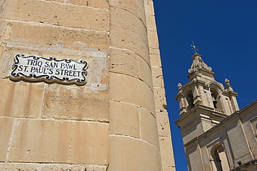 St. Paul's Street sign and Mdina Cathedral, Malta