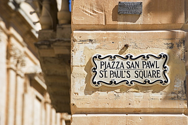 Close up of St. Paul's Square street sign, Mdina, Malta