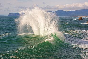Wave splashing on rock, Tillamook County, Oregon