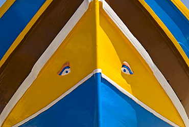 Close up of colorful boat prow