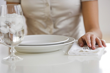 Close up of woman sitting at table