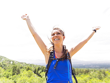Portrait of athletic woman cheering, USA, Utah, Salt Lake City