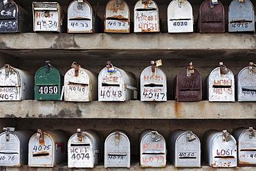 Rows of Mailboxes, town of El Nego, Puerto Rico