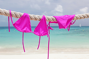 Pink bikini drying on rope, Mexico, Quintana Roo, Yucatan Peninsula, Cancun