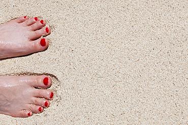 Woman's feet on sand, Mexico, Quintana Roo, Yucatan, Cancun