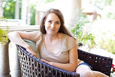 Portrait of young woman, USA, Utah, Salt Lake
