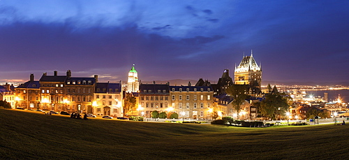 Panoramic view of old city at dusk, Canada