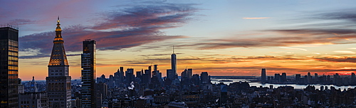 Panoramic view of city at dusk, New York City, New York