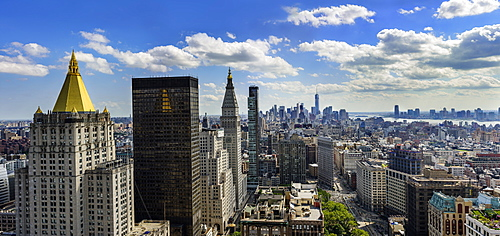 Aerial view of residential district, USA, New York State, New York City