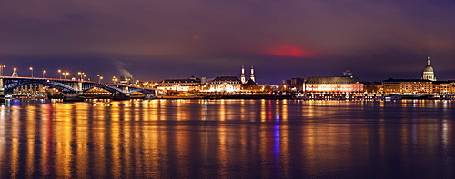 Illuminated waterfront skyline, Germany, Rhineland-Palatinate, Mainz
