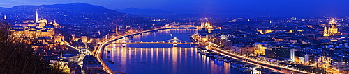 Illuminated cityscape with Danube River, Hungary, Budapest