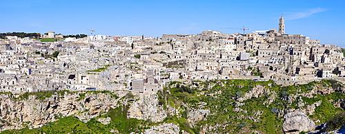 Italy, Basilicata, Matera, Panorama of old town