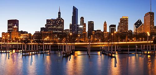 City skyline at dusk, Chicago, Illinois