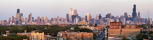 Skyscrapers in downtown, USA, Illinois, Chicago, Logan Square