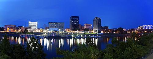 USA, West Virginia, Charleston, Panoramic cityscape at night