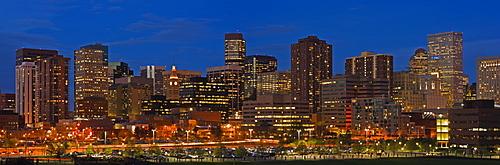 USA, Colorado, Denver, panoramic cityscape at night