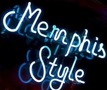 Illuminated Memphis Style sign on Beale Street in Memphis