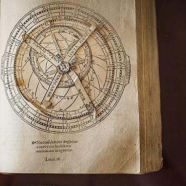 Volvelle from ancient manuscript, Library in monastery, Valldemossa, Mallorca, Spain