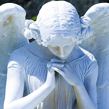Puerto Rico, Old San Juan, Santa Maria Magdalena Cemetery, Close-up view of praying angel statue