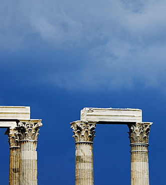 Greece, Athens, Corinthian columns at Temple of Olympian Zeus