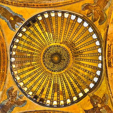 Turkey, Istanbul, Haghia Sophia Mosque interior ceiling