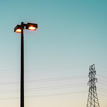 Street light and electricity pylon, Valdese, North Carolina