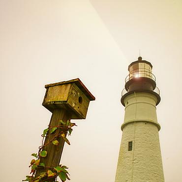 Portland Head Light and birdhouse, Portland, Maine