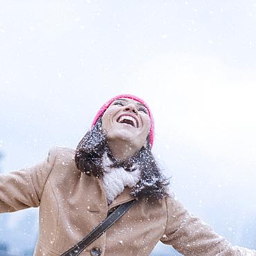 Woman in snowfall